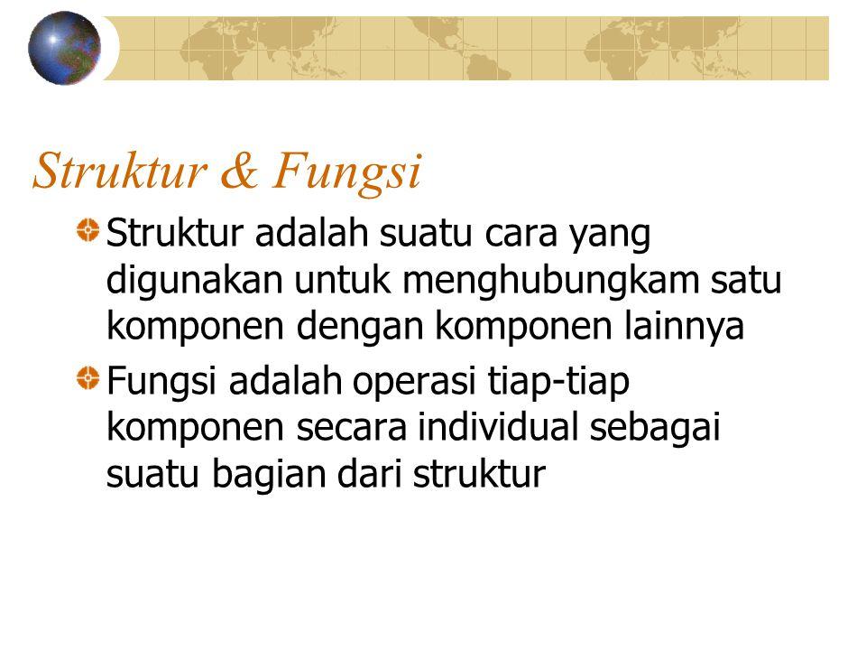 Struktur & Fungsi Struktur adalah suatu cara yang digunakan untuk menghubungkam satu komponen dengan komponen lainnya.