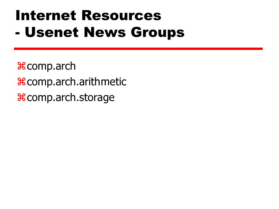 Internet Resources - Usenet News Groups