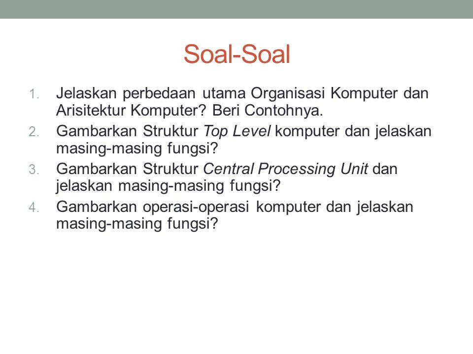 Soal-Soal Jelaskan perbedaan utama Organisasi Komputer dan Arisitektur Komputer Beri Contohnya.