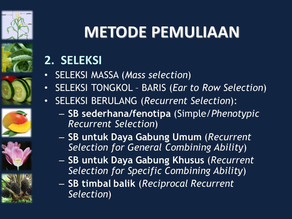 METODE PEMULIAAN SELEKSI SELEKSI MASSA (Mass selection)
