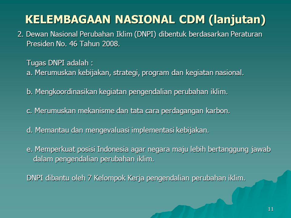KELEMBAGAAN NASIONAL CDM (lanjutan)