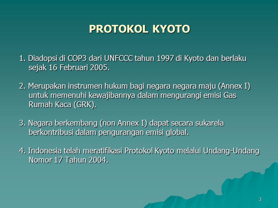 PROTOKOL KYOTO 1. Diadopsi di COP3 dari UNFCCC tahun 1997 di Kyoto dan berlaku. sejak 16 Februari 2005.