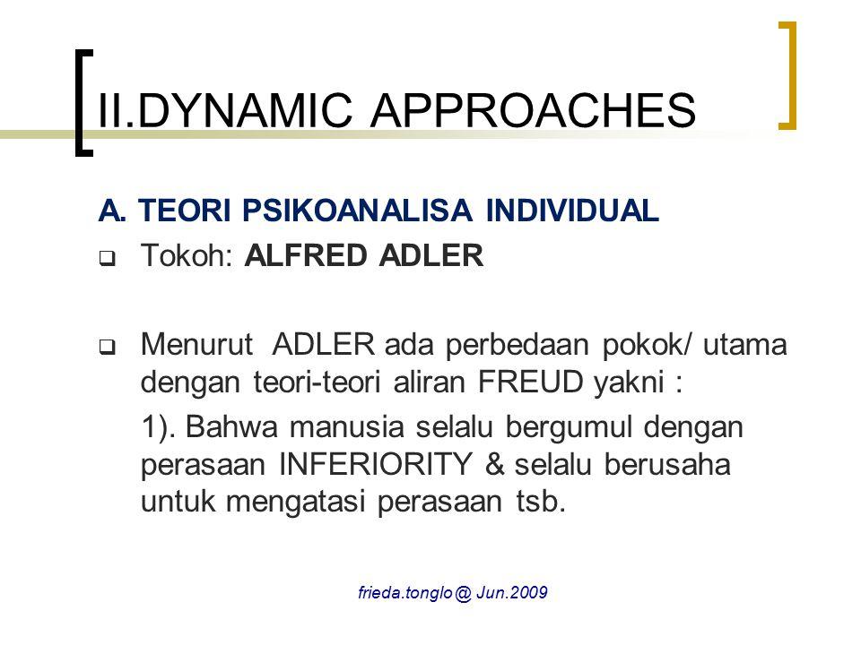II.DYNAMIC APPROACHES A. TEORI PSIKOANALISA INDIVIDUAL
