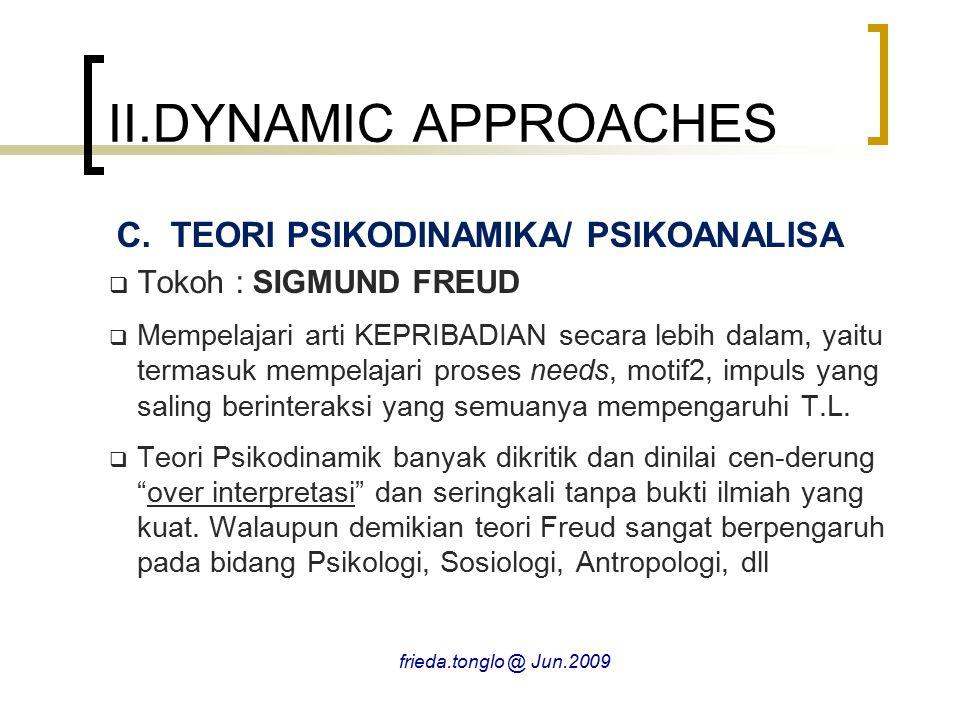 II.DYNAMIC APPROACHES TEORI PSIKODINAMIKA/ PSIKOANALISA