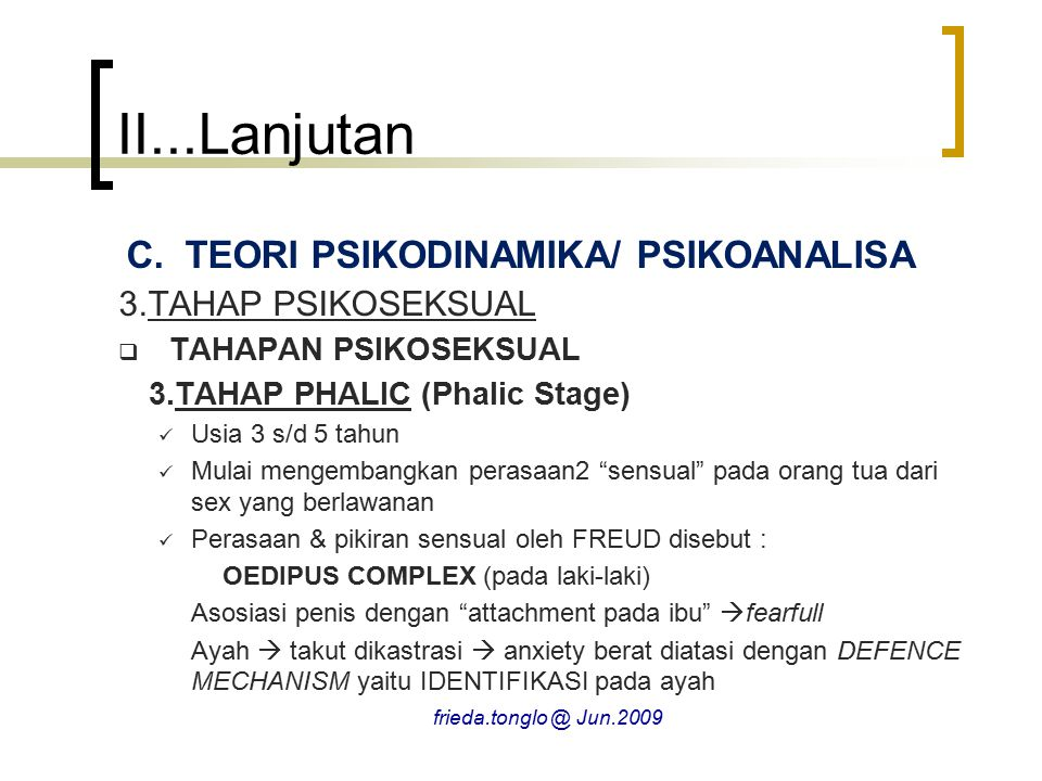 II...Lanjutan TEORI PSIKODINAMIKA/ PSIKOANALISA 3.TAHAP PSIKOSEKSUAL