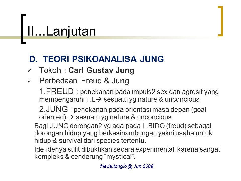 II...Lanjutan TEORI PSIKOANALISA JUNG Tokoh : Carl Gustav Jung