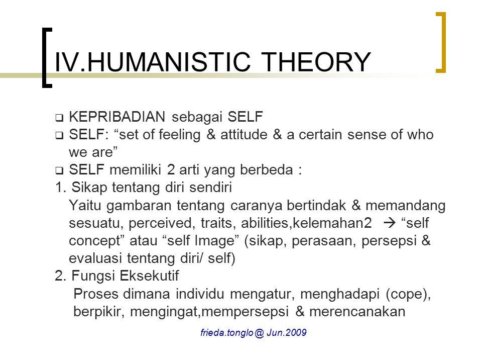 IV.HUMANISTIC THEORY KEPRIBADIAN sebagai SELF
