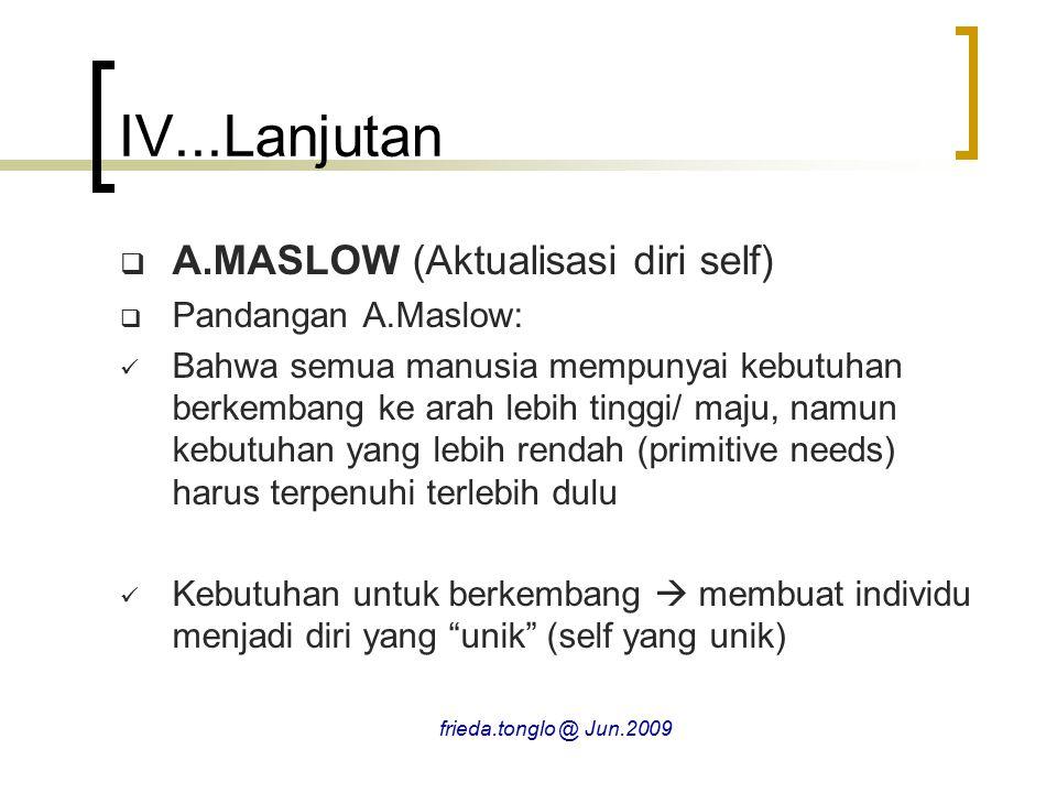 IV...Lanjutan A.MASLOW (Aktualisasi diri self) Pandangan A.Maslow: