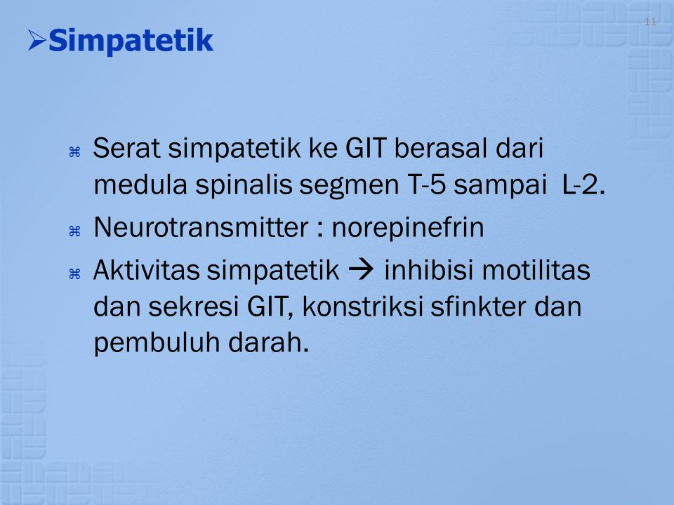 Simpatetik Serat simpatetik ke GIT berasal dari medula spinalis segmen T-5 sampai L-2. Neurotransmitter : norepinefrin.