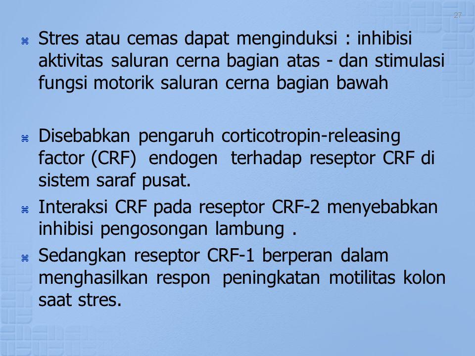 Stres atau cemas dapat menginduksi : inhibisi aktivitas saluran cerna bagian atas - dan stimulasi fungsi motorik saluran cerna bagian bawah