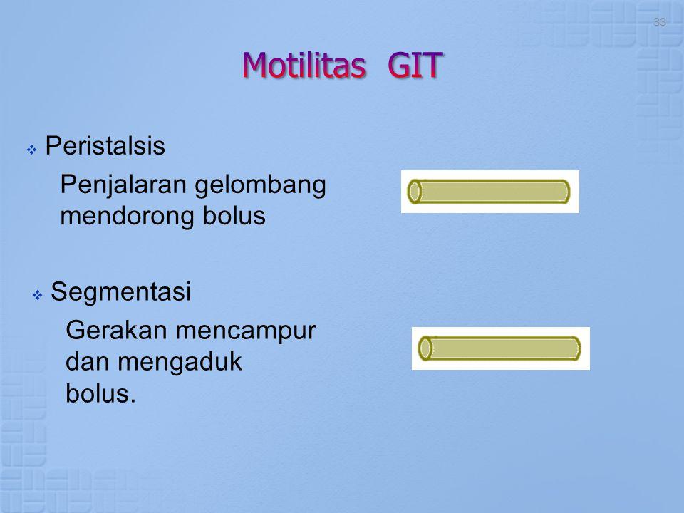 Motilitas GIT Peristalsis Penjalaran gelombang mendorong bolus