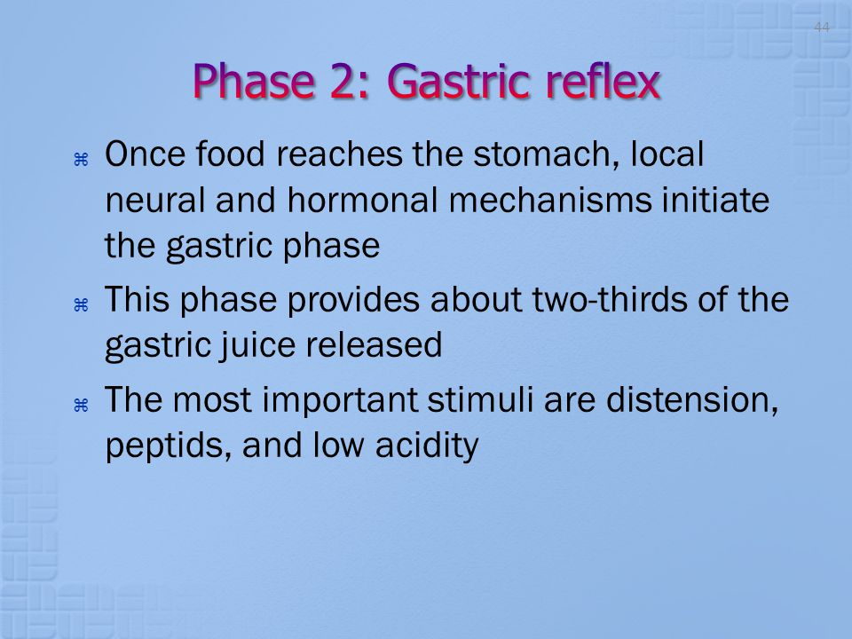 Phase 2: Gastric reflex Once food reaches the stomach, local neural and hormonal mechanisms initiate the gastric phase.