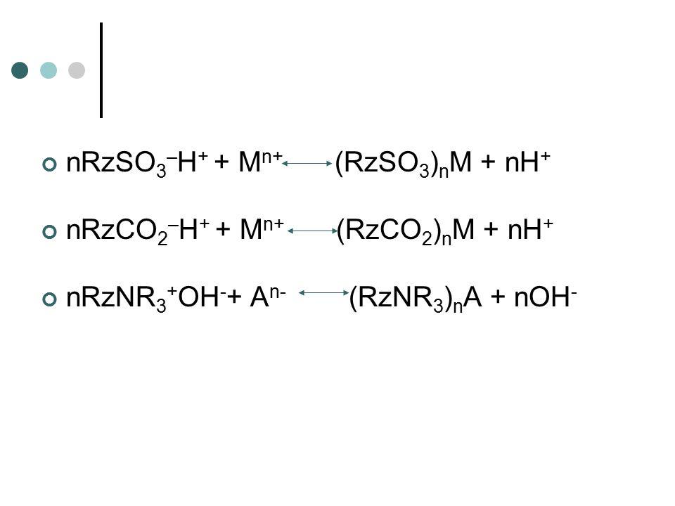 nRzSO3–H+ + Mn+ (RzSO3)nM + nH+