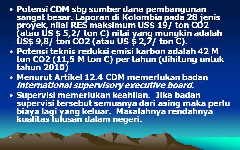 Potensi CDM sbg sumber dana pembangunan sangat besar