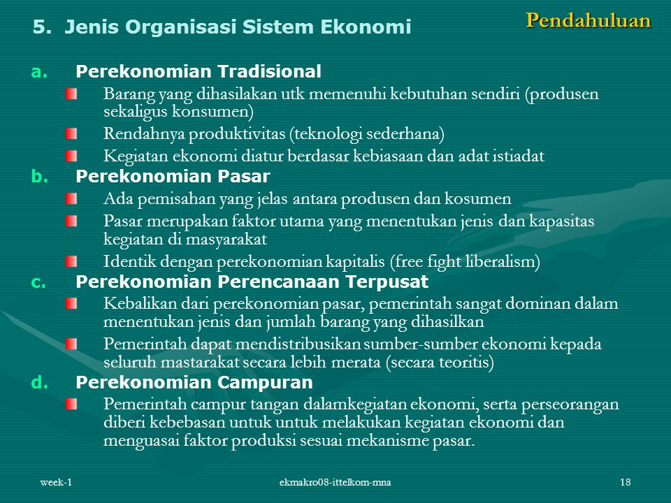 5. Jenis Organisasi Sistem Ekonomi