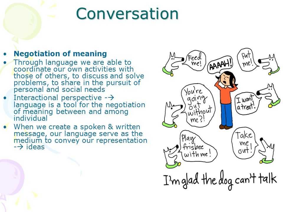 Conversation Negotiation of meaning
