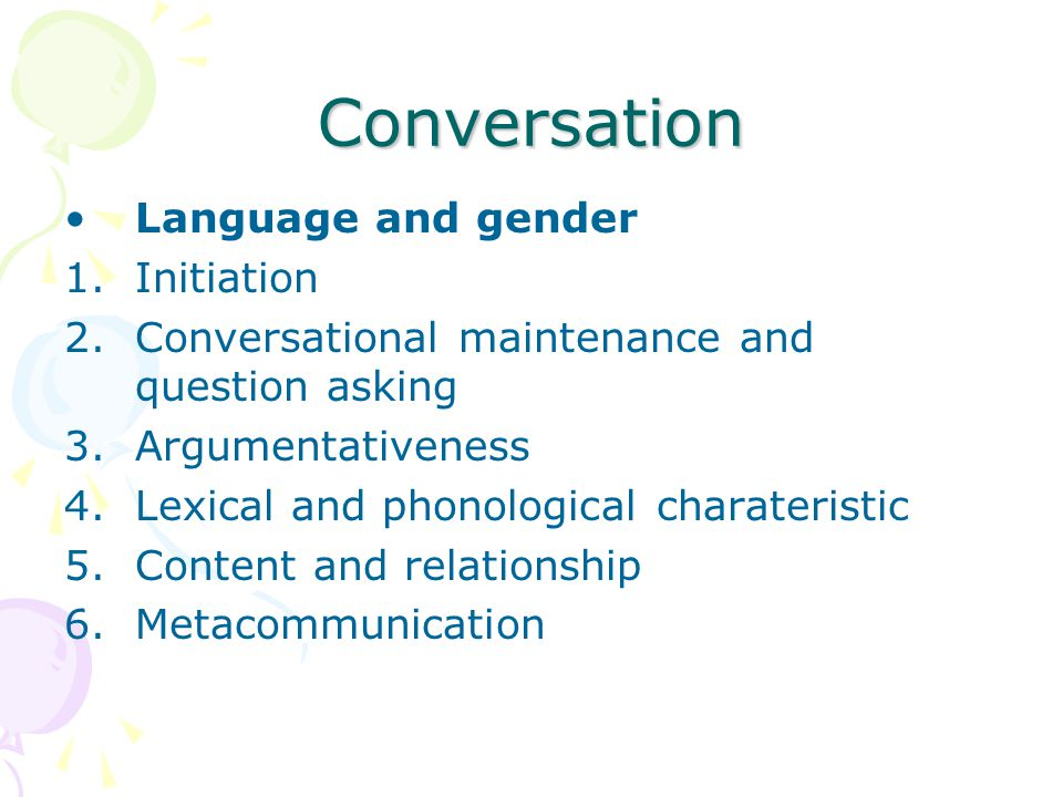 Conversation Language and gender Initiation