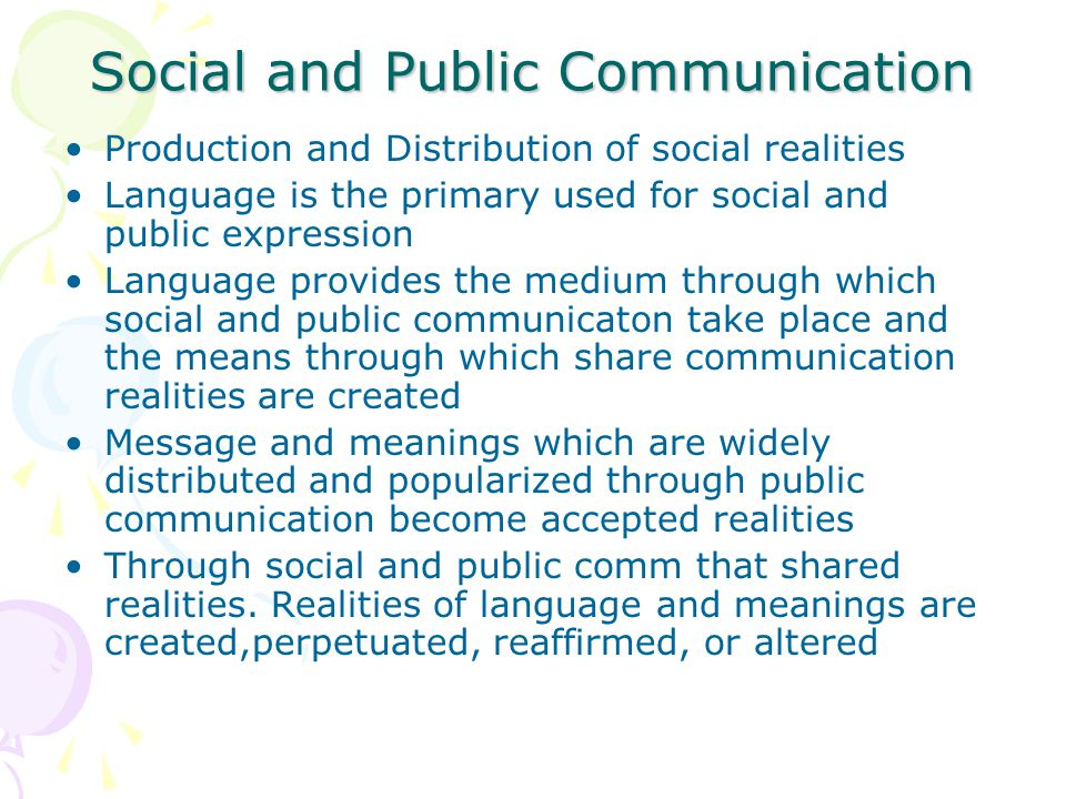 Social and Public Communication