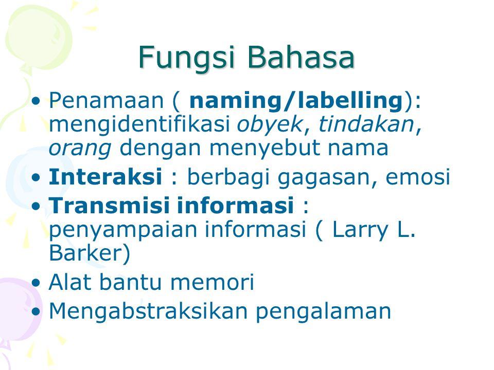 Fungsi Bahasa Penamaan ( naming/labelling): mengidentifikasi obyek, tindakan, orang dengan menyebut nama.