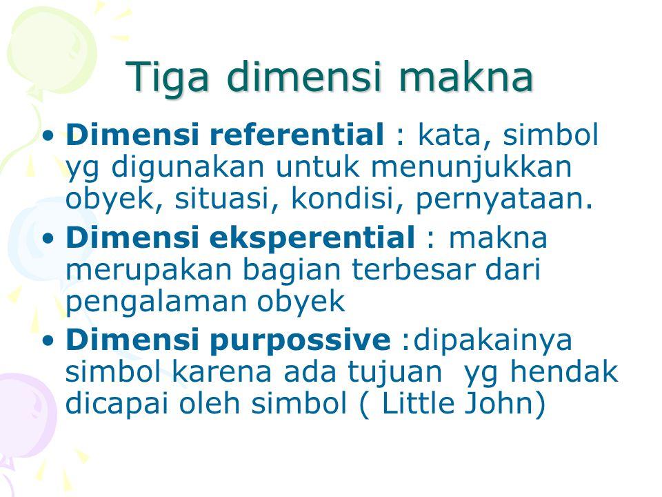Tiga dimensi makna Dimensi referential : kata, simbol yg digunakan untuk menunjukkan obyek, situasi, kondisi, pernyataan.