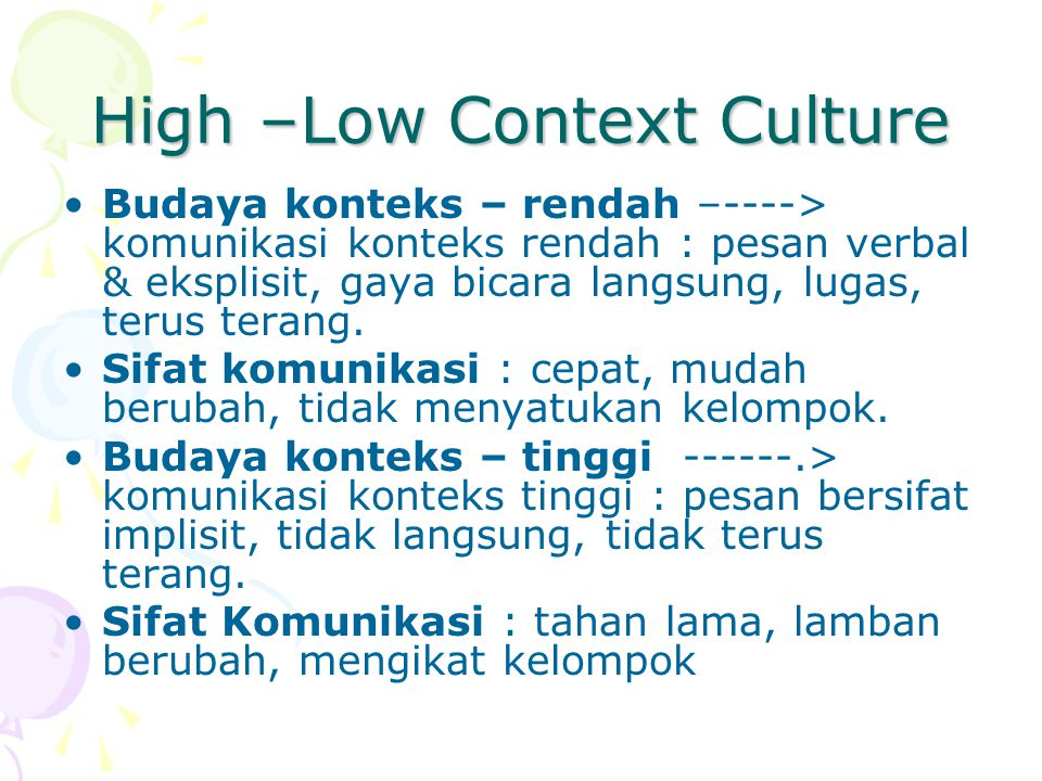 High –Low Context Culture