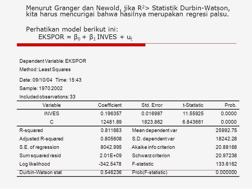 Perhatikan model berikut ini: EKSPOR = β0 + β1 INVES + ut
