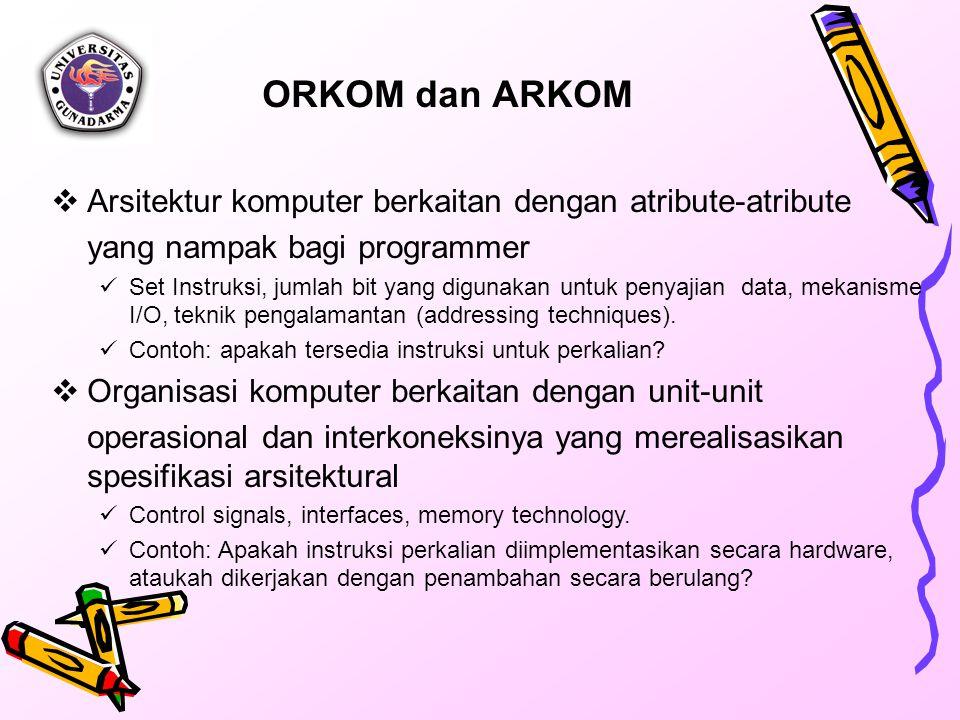 ORKOM dan ARKOM Arsitektur komputer berkaitan dengan atribute-atribute