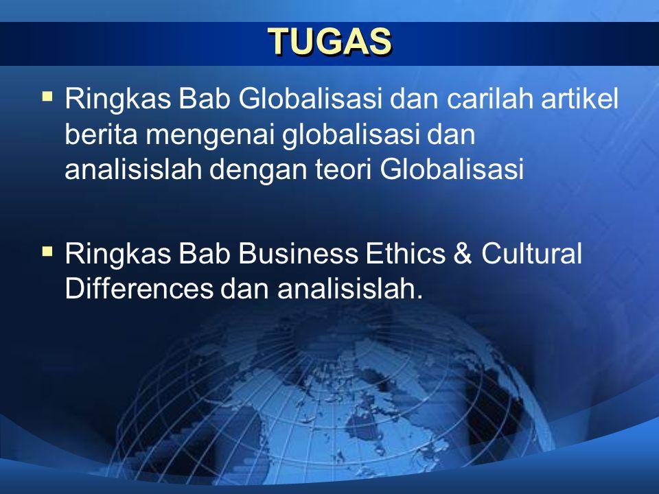 TUGAS Ringkas Bab Globalisasi dan carilah artikel berita mengenai globalisasi dan analisislah dengan teori Globalisasi.