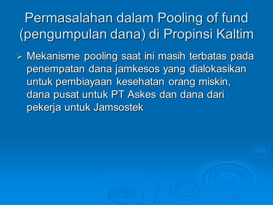 Permasalahan dalam Pooling of fund (pengumpulan dana) di Propinsi Kaltim