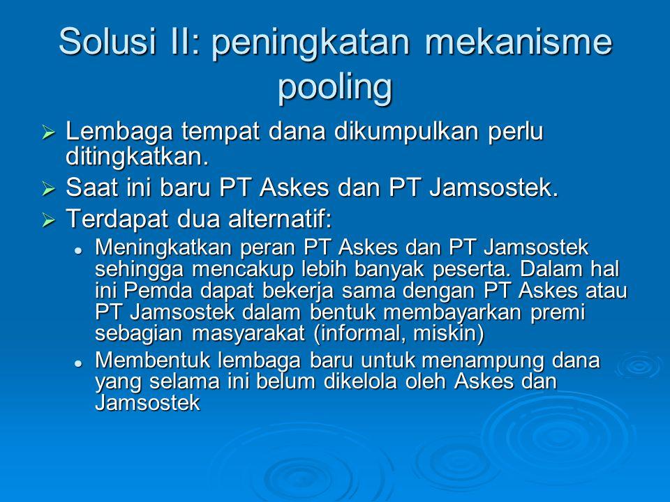 Solusi II: peningkatan mekanisme pooling