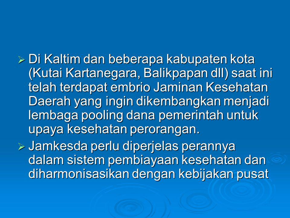 Di Kaltim dan beberapa kabupaten kota (Kutai Kartanegara, Balikpapan dll) saat ini telah terdapat embrio Jaminan Kesehatan Daerah yang ingin dikembangkan menjadi lembaga pooling dana pemerintah untuk upaya kesehatan perorangan.