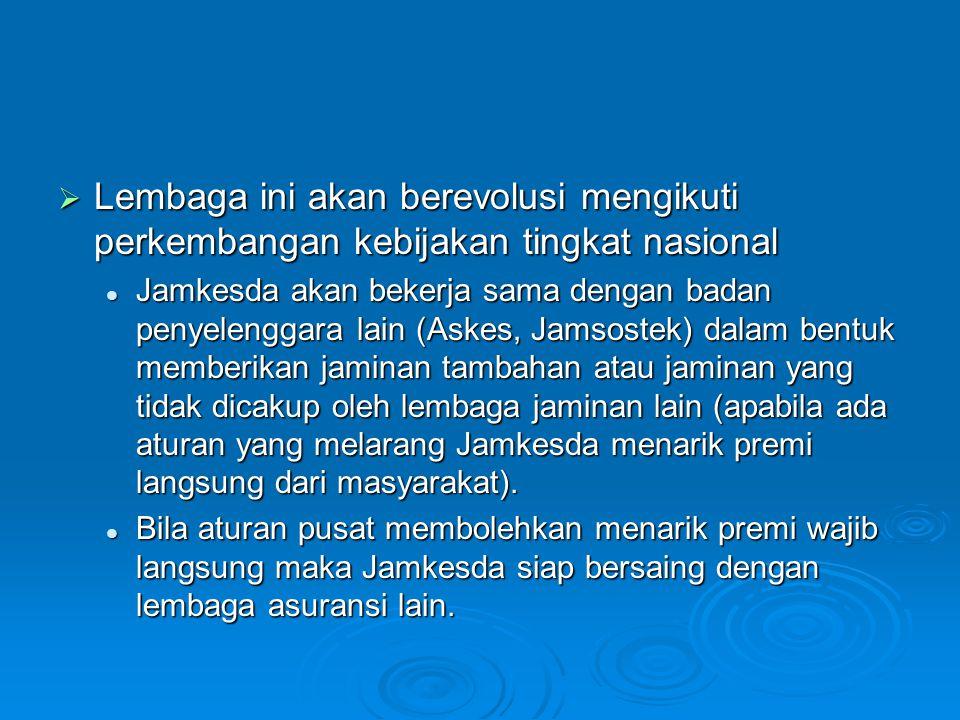 Lembaga ini akan berevolusi mengikuti perkembangan kebijakan tingkat nasional