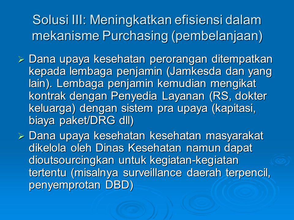 Solusi III: Meningkatkan efisiensi dalam mekanisme Purchasing (pembelanjaan)