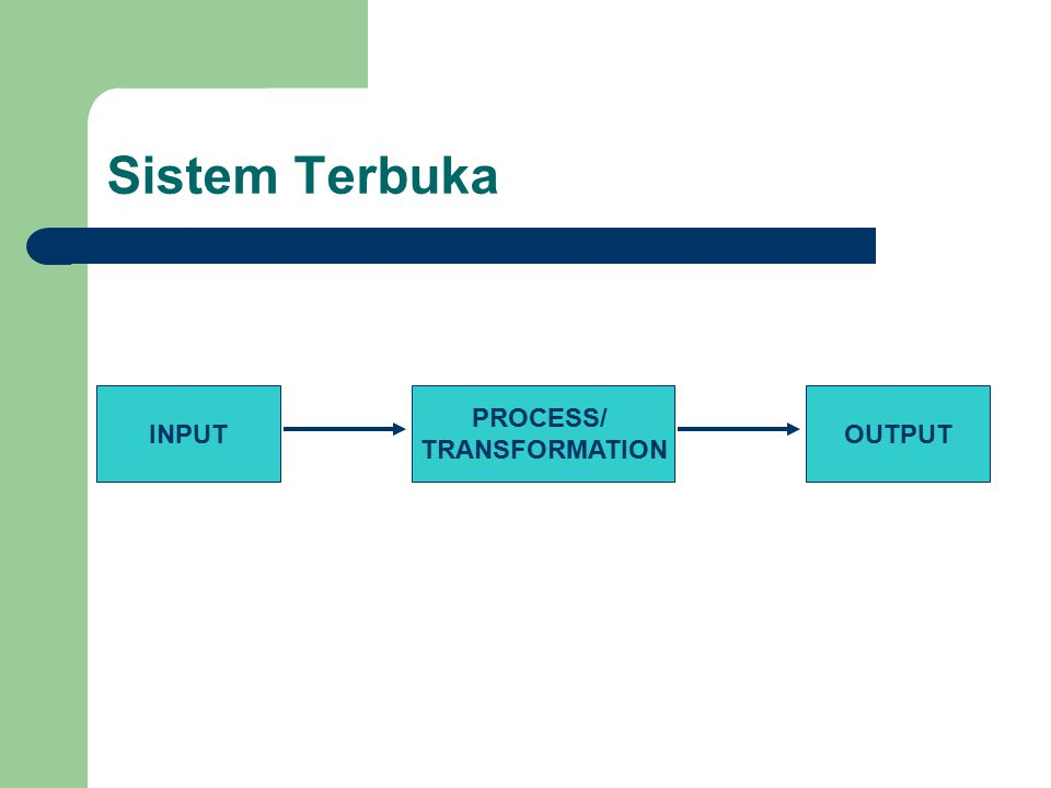 Sistem Terbuka INPUT PROCESS/ TRANSFORMATION OUTPUT