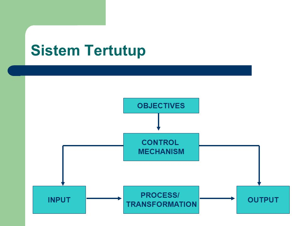 Sistem Tertutup INPUT PROCESS/ TRANSFORMATION OUTPUT CONTROL MECHANISM
