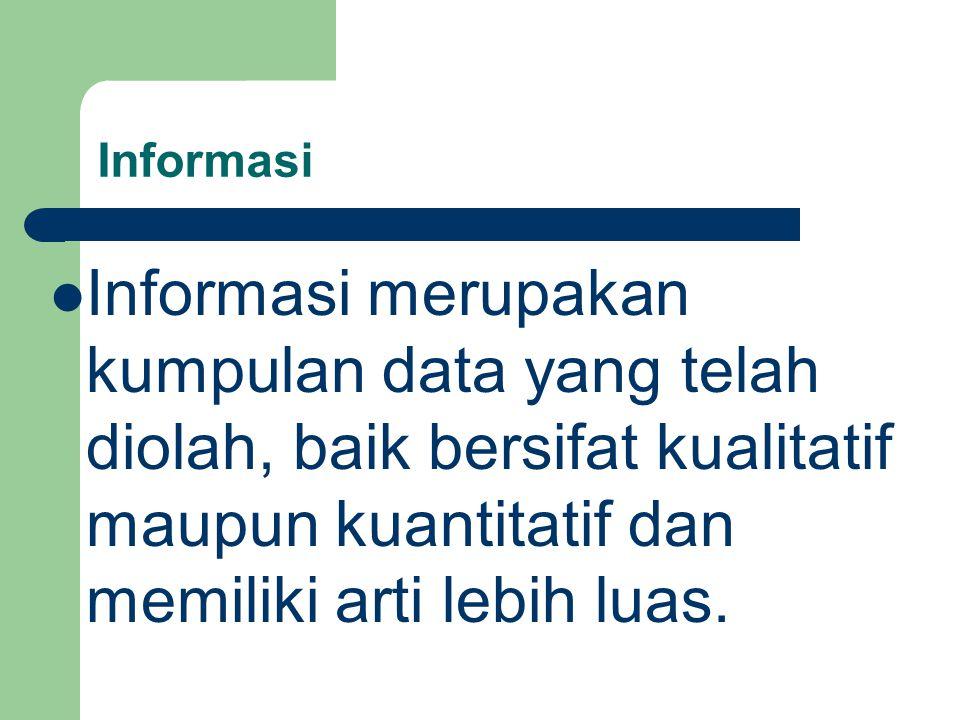 Informasi Informasi merupakan kumpulan data yang telah diolah, baik bersifat kualitatif maupun kuantitatif dan memiliki arti lebih luas.