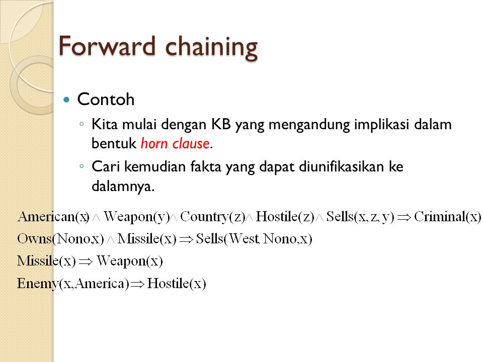 Forward chaining Contoh