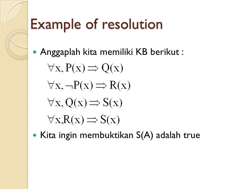 Example of resolution Anggaplah kita memiliki KB berikut :