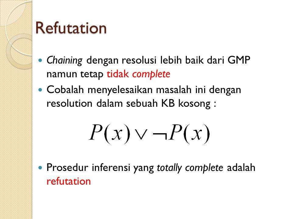Refutation Chaining dengan resolusi lebih baik dari GMP namun tetap tidak complete.