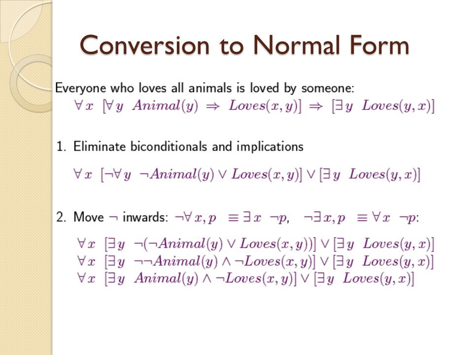 Conversion to Normal Form