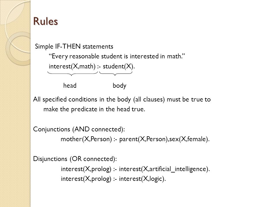 Rules Simple IF-THEN statements