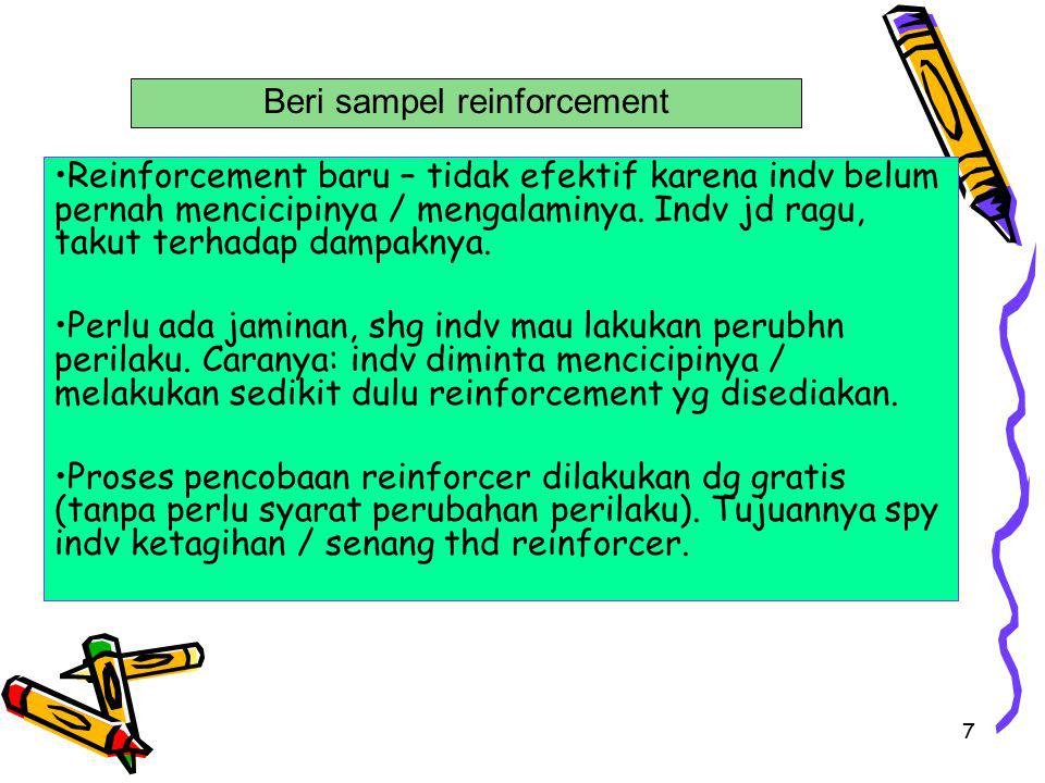 Beri sampel reinforcement