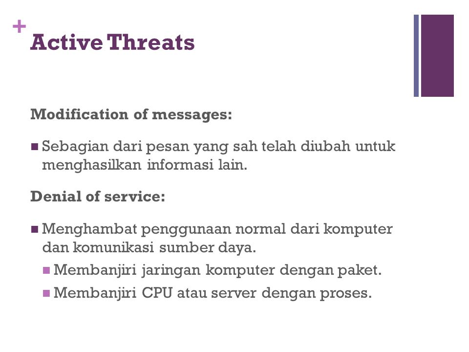 Active Threats Modification of messages:
