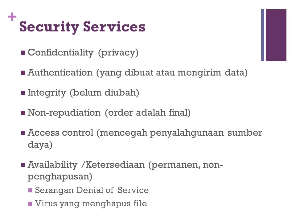 Security Services Confidentiality (privacy)