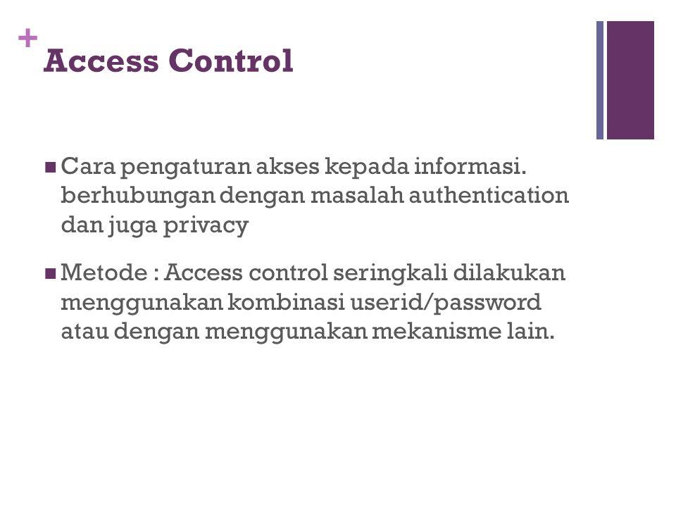 Access Control Cara pengaturan akses kepada informasi. berhubungan dengan masalah authentication dan juga privacy.