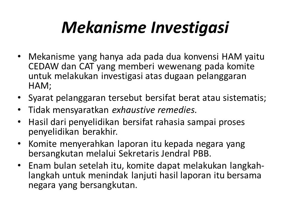 Mekanisme Investigasi
