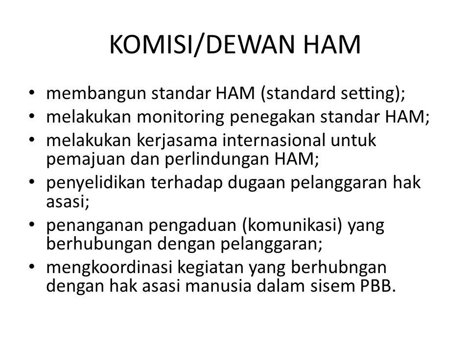 KOMISI/DEWAN HAM membangun standar HAM (standard setting);
