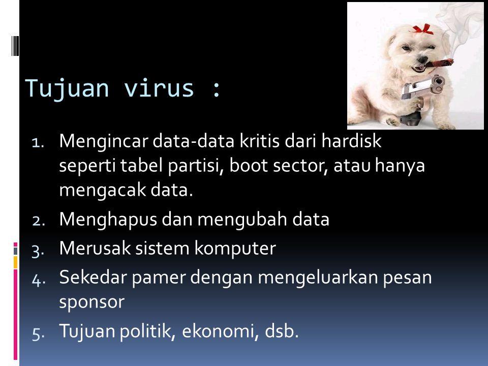 Tujuan virus : Mengincar data-data kritis dari hardisk seperti tabel partisi, boot sector, atau hanya mengacak data.