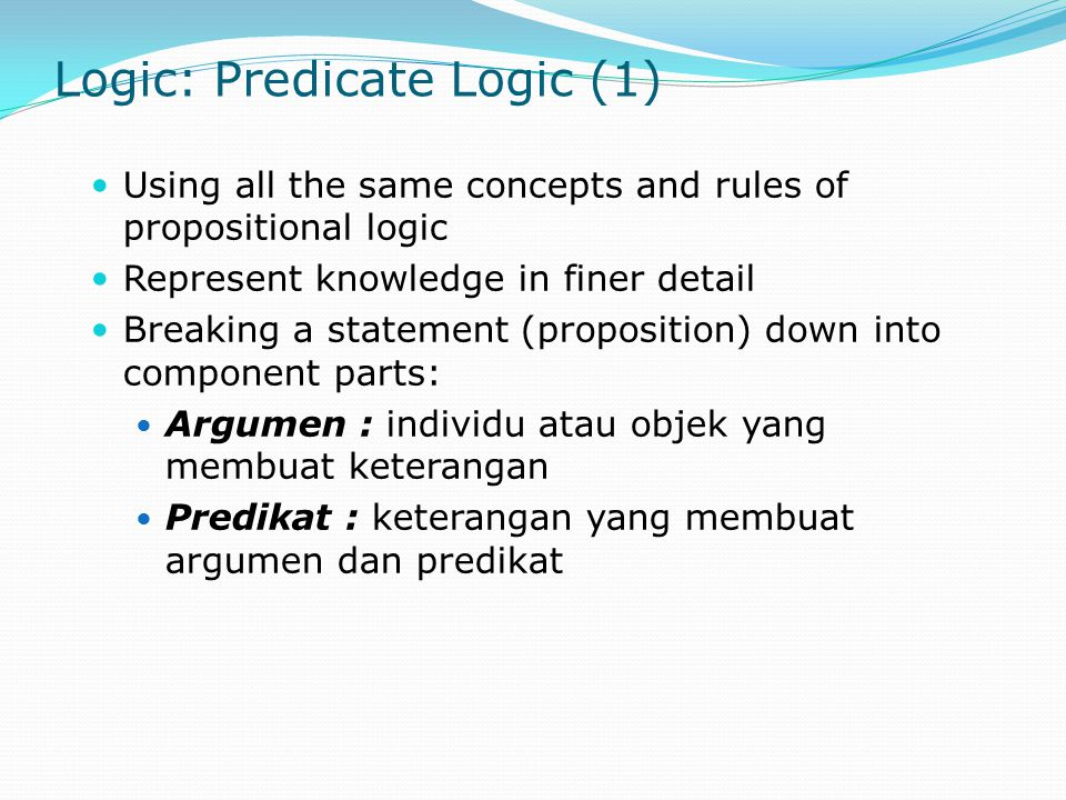 Logic: Predicate Logic (1)