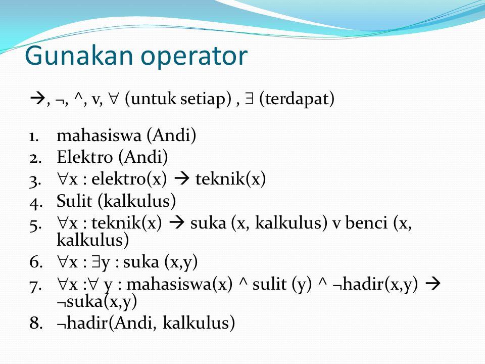 Gunakan operator mahasiswa (Andi) Elektro (Andi)